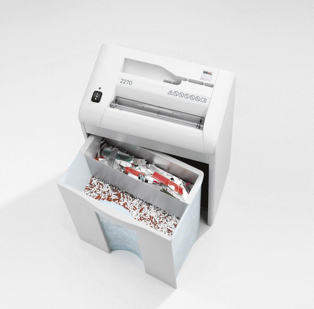 Paperintuhooja Ideal 2270 3X25mm silppu - tuhoaa myös luottokortit ja CD-levyt