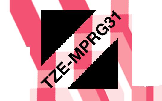 Tarrakasetti Brother TZe-MPRG31 12mm punainen ruutu/musta