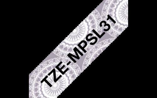 Tarrakasetti Brother TZe-MPSL31 12mm hopea pitsi/musta
