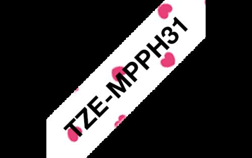 Tarrakasetti Brother TZe-MPPH31 12mm pinkki sydän/musta