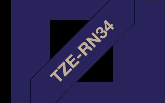 Tekstiilinauha Brother TZe-RN34 12mm satiini sininen/kulta