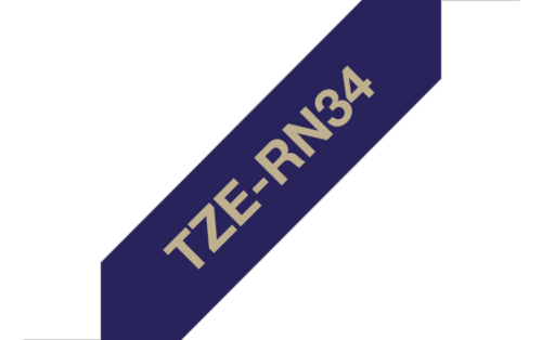 Tekstiilinauha Brother TZe-RN34 12mm satiini sininen/kulta