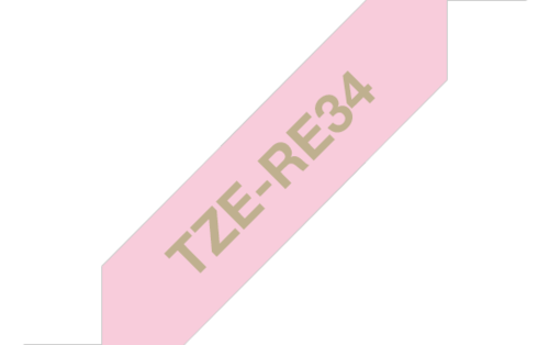 Tekstiilinauha Brother TZe-RE34 12mm satiini pinkki/kulta
