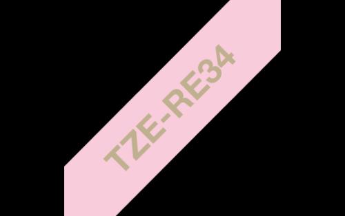 Tekstiilinauha Brother TZe-RE34 12mm satiini pinkki/kulta