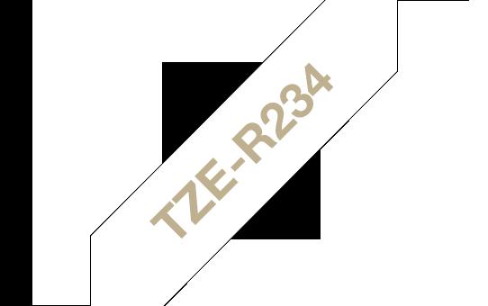 Tekstiilinauha Brother TZe-R234 12mm satiini valkoinen/kulta