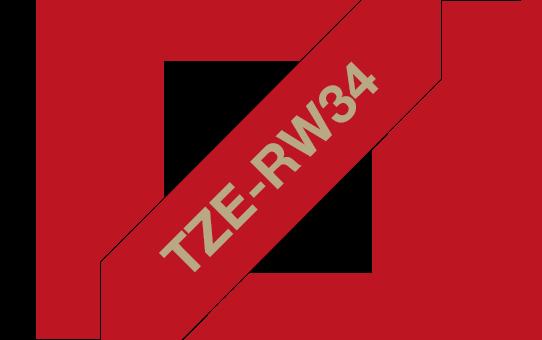 Tekstiilinauha Brother TZe-RW34 12mm satiini punainen/kulta