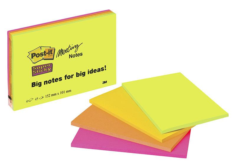 Viestilappu Post-it Super Sticky Meeting notes A6 /4 kpl pkt - isot viestilaput isommille ideoille