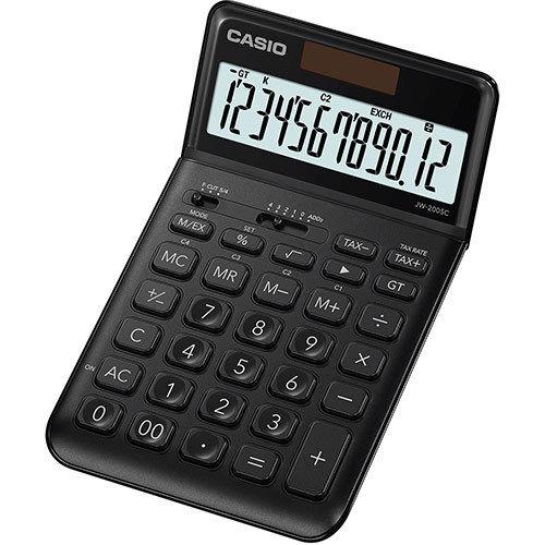 Pöytälaskin Casio JW-200SC-BK musta - hyvin ohut, iso taittuva näyttö, metallikuori