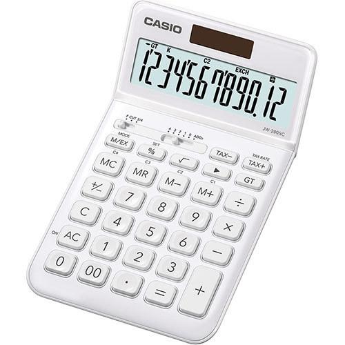 Pöytälaskin Casio JW-200SC-WE valkoinen - hyvin ohut, iso taittuva näyttö, metallikuori