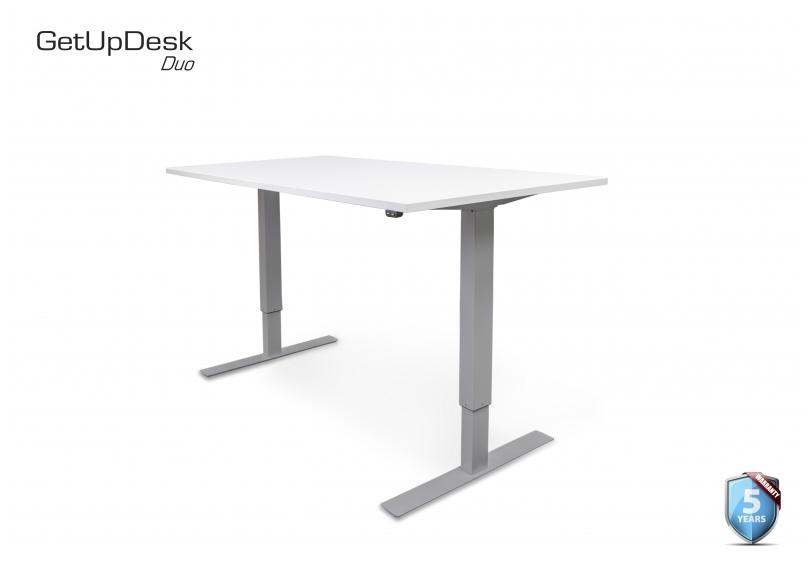 Sähköpöytä GetUpDesk Duo1 valkoinen/harmaa - korkeuden säätö nappia painamalla