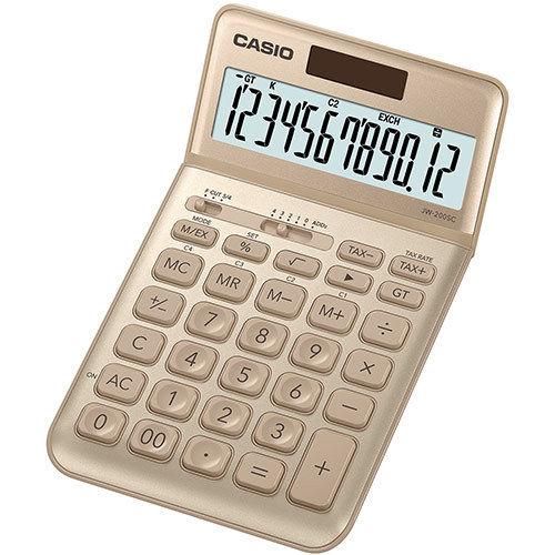 Pöytälaskin Casio JW-200SC-GD kulta - hyvin ohut, iso taittuva näyttö, metallikuori