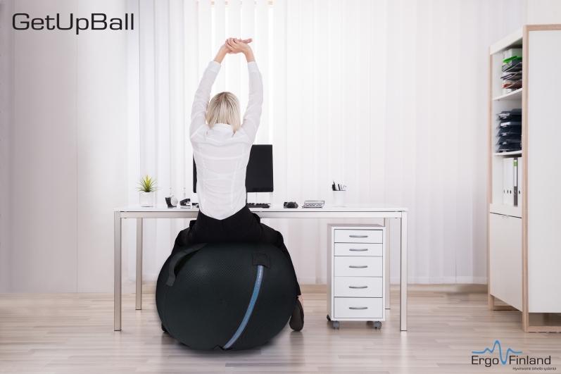 Kotimainen palloistuin GetUpBall 65 cm - vahvistaa lihaksia työn ohessa