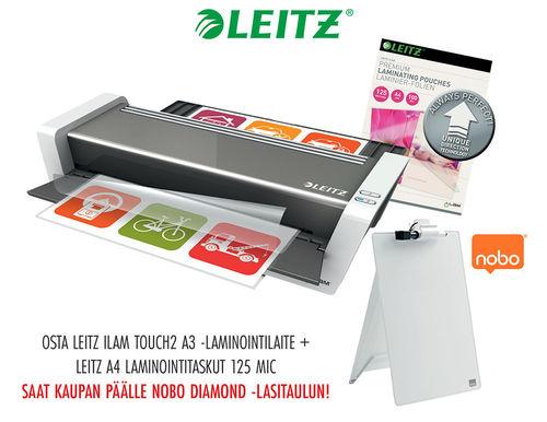 KAMPANJAPAKETTI: Laminointilaite Leitz iLAM touch2 A3 + taskut = lasitaulu kaupan päälle!