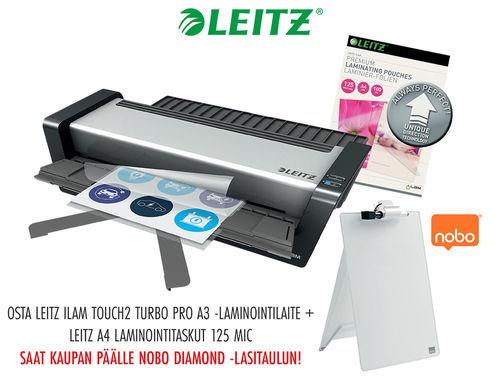 KAMPANJAPAKETTI: Laminointilaite Leitz iLAM touch turbo Pro A3 + taskut = lasitaulu kaupan päälle!