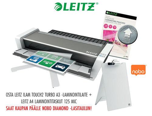 KAMPANJAPAKETTI: Laminointilaite Leitz iLAM touch2 turbo A3 + taskut = lasitaulu kaupan päälle!