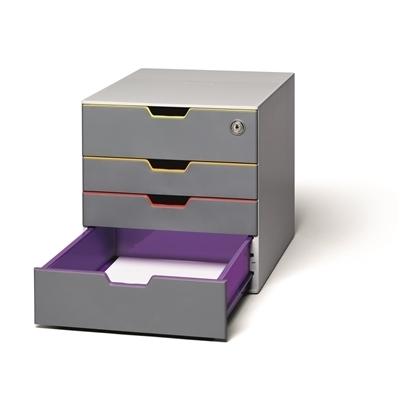 Laatikosto Varicolor Safe 4-osainen lukittava monivärinen - laatikot avautuvat äänettömästi