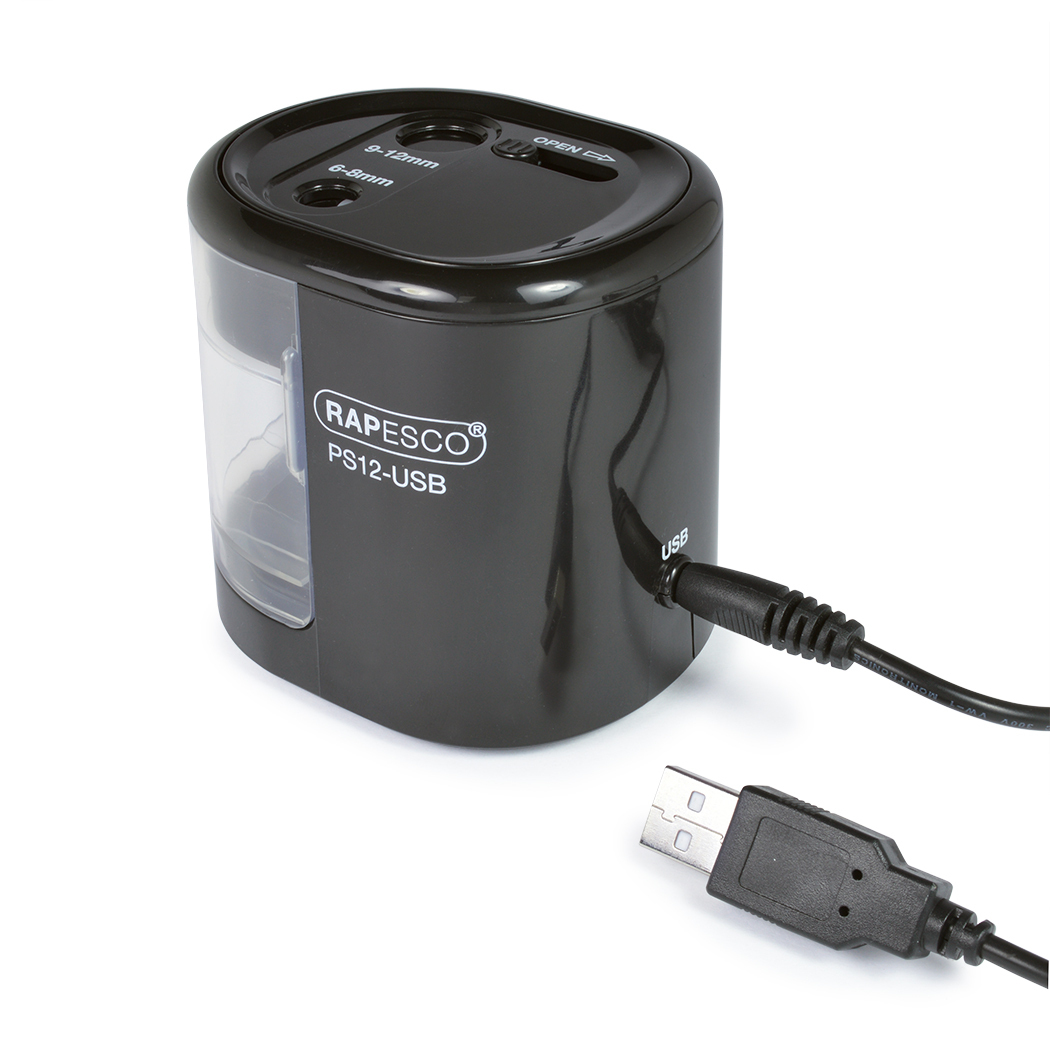 Teroitin Rapesco USB pöytämalli 2-reikäinen musta - toimii USB-kaapelilla tai paristoilla