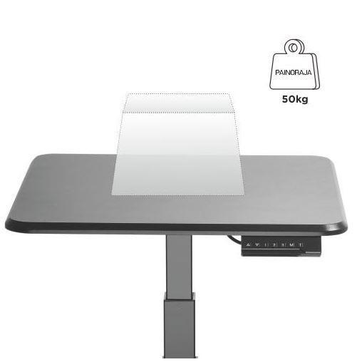 Sähköpöytä GetUpDesk Single musta - terveyttä edistävää vaihtelua työasentoon, 5 vuoden takuu