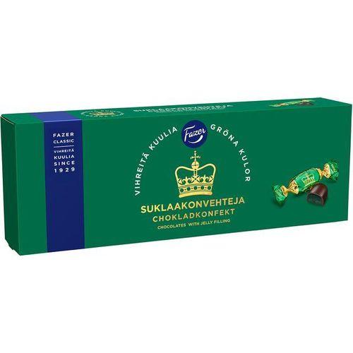 Suklaakonvehti Fazer Vihreät kuulat 320g - sisällä vihreä päärynämarmeladi ja päällä tumma suklaa